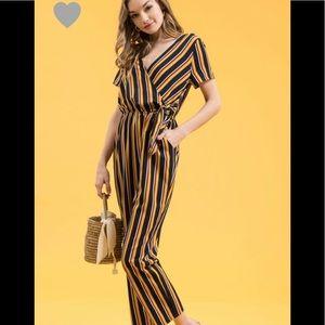 Pants - Mustard navy striped jumpsuit